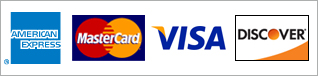 Supported credit cards: Amex, MasterCard, VISA, Discover